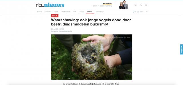 Rtl nieuws tegen chemische bestrijding buxusmot